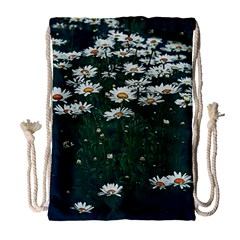 White Daisy Field Drawstring Bag (large) by bloomingvinedesign