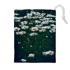 White Daisy Field Drawstring Pouch (xl) by bloomingvinedesign