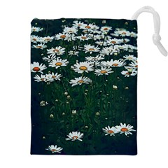 White Daisy Field Drawstring Pouch (xxl) by bloomingvinedesign
