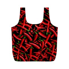Red Chili Peppers Pattern Full Print Recycle Bag (m) by bloomingvinedesign