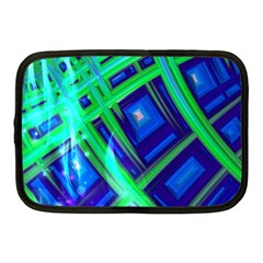 Green Blue Squares Fractal Netbook Case (medium) by bloomingvinedesign