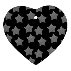 Silver Starr Black Heart Ornament (two Sides)
