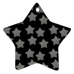 Silver Starr Black Star Ornament (two Sides)
