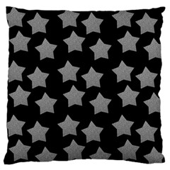 Silver Starr Black Large Flano Cushion Case (two Sides)