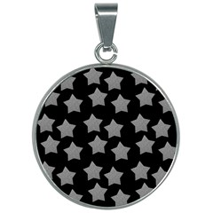 Silver Starr Black 30mm Round Necklace
