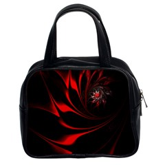 Red Black Abstract Curve Dark Flame Pattern Classic Handbag (two Sides)