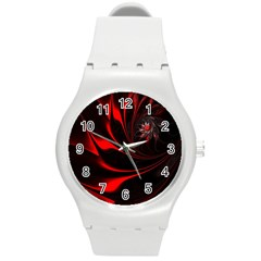 Red Black Abstract Curve Dark Flame Pattern Round Plastic Sport Watch (m) by Nexatart