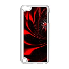 Red Black Abstract Curve Dark Flame Pattern Apple Ipod Touch 5 Case (white)