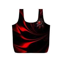 Red Black Abstract Curve Dark Flame Pattern Full Print Recycle Bag (s)