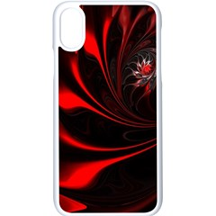Red Black Abstract Curve Dark Flame Pattern Apple Iphone X Seamless Case (white)