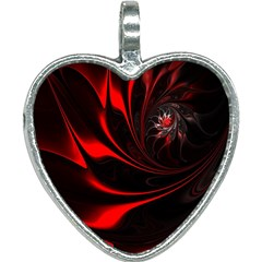 Red Black Abstract Curve Dark Flame Pattern Heart Necklace by Nexatart