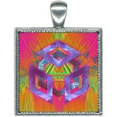 Glitch Glitch Art Grunge Distortion Square Necklace