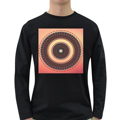 Ornamental Shape Concentric Round Long Sleeve Dark T-shirt by Nexatart