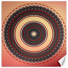 Ornamental Shape Concentric Round Canvas 12  X 12  by Nexatart