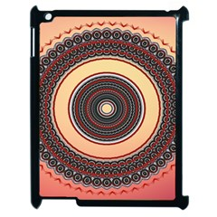 Ornamental Shape Concentric Round Apple Ipad 2 Case (black) by Nexatart