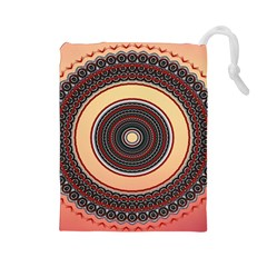 Ornamental Shape Concentric Round Drawstring Pouch (large)