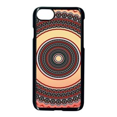 Ornamental Shape Concentric Round Apple Iphone 8 Seamless Case (black)