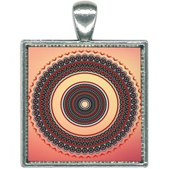 Ornamental Shape Concentric Round Square Necklace