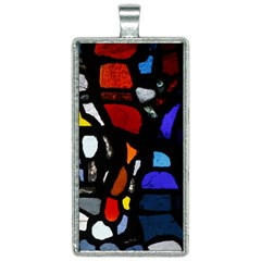 Art Bright Lead Glass Pattern Rectangle Necklace