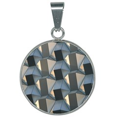 3d Pattern Texture Form Background 25mm Round Necklace