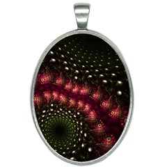 Background Texture Pattern Oval Necklace