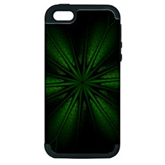 Green Fractal Art Artistic Pattern Apple Iphone 5 Hardshell Case (pc+silicone) by Nexatart