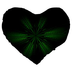 Green Fractal Art Artistic Pattern Large 19  Premium Heart Shape Cushions