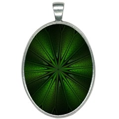 Green Fractal Art Artistic Pattern Oval Necklace