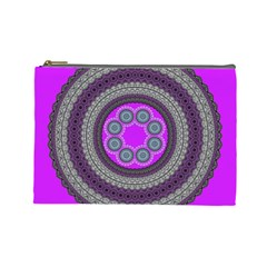 Round Pattern Ethnic Design Cosmetic Bag (large) by Nexatart