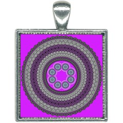 Round Pattern Ethnic Design Square Necklace