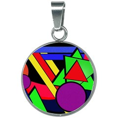 Background Color Art Pattern Form 20mm Round Necklace