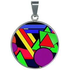 Background Color Art Pattern Form 30mm Round Necklace