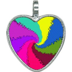Art Abstract Pattern Color Heart Necklace