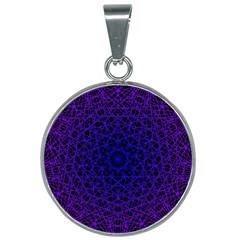 Background Lines Pattern Line Art 25mm Round Necklace