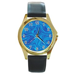 Blue Abstract Pattern Art Shape Round Gold Metal Watch
