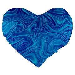 Blue Abstract Pattern Art Shape Large 19  Premium Heart Shape Cushions