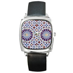 Morocco Essaouira Tile Pattern Square Metal Watch