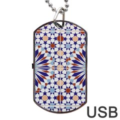 Morocco Essaouira Tile Pattern Dog Tag Usb Flash (one Side)