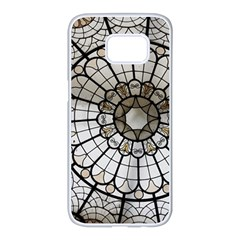 Pattern Abstract Structure Art Samsung Galaxy S7 Edge White Seamless Case