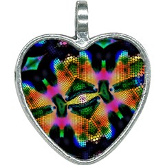 Butterfly Color Pop Art Heart Necklace
