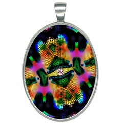 Butterfly Color Pop Art Oval Necklace