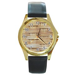Wicker Model Texture Craft Braided Round Gold Metal Watch by Nexatart
