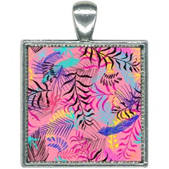 Illustration Reason Leaves Design Square Necklace