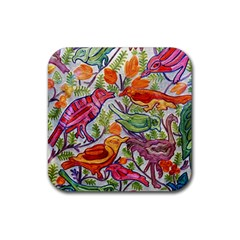 Art Flower Pattern Background Rubber Square Coaster (4 Pack)  by Nexatart