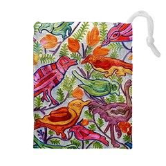 Art Flower Pattern Background Drawstring Pouch (xl)