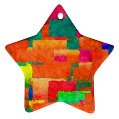 Pattern Texture Background Color Star Ornament (two Sides)