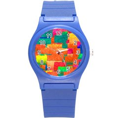 Pattern Texture Background Color Round Plastic Sport Watch (s) by Nexatart