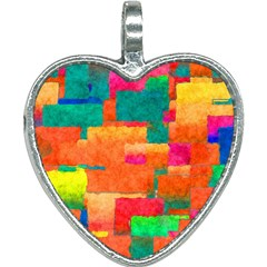 Pattern Texture Background Color Heart Necklace