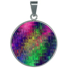 Background Abstract Art Color 30mm Round Necklace