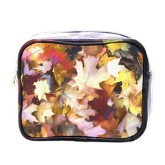Fall Leaves Bright Mini Toiletries Bag (one Side) by bloomingvinedesign